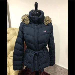 Hollister Navy Hooded Down Jacket/Parka Size Large